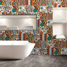 Retro Moroccan Mosaic Wall Tile Stickers Waterproof Floor Wall Decal Diy Self Adhesive Kitchen Bathroom Decor Vinyl Wallpaper Wall Stickers Aliexpress