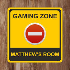 Gaming Zone No Entry Kids Bedroom Door Sign Personalised Etsy