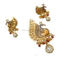 meenakari antique peacock pendant set
