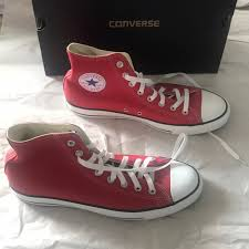 converse shoes red leather chucks