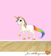 Princess Rainbow Unicorn Fabric Wall Decal By Janettedesign 60 00 Unicorn Wall Decal Fabric Wall Decals Girls Wall Decals