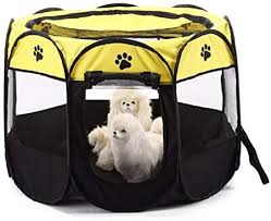 Gddyq Pet Tent Portable Folding Pet Fence Indoor Outdoor Suitable For Travel Camping Picnic Yellow S Amazon Co Uk Kitchen Home