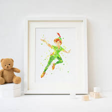 Peter Pan Picture Print Watercolor Poster Print Kids Room Wall Decor Baby Nursery Art Gift Idea Painting Calligraphy Aliexpress
