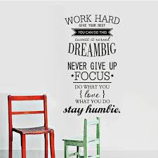 Work Hard Dream Big Wall Sticker Creative Vinyl Art Sticker Inspirational Quote Home Decal Living Room Wallpaper Free Shipping Wallpaper Wallpaper Tubewallpaper Fashion Aliexpress