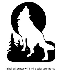 Wolf Moon Decal Sticker Window Car Laptop Silhouette Art Wolf Silhouette Silhouette Stencil