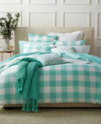 blue checd bedding and grey grey