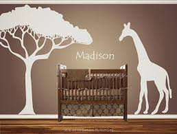 Personalized Custom Giraffe Animal Nursery Wall Decal Crib Name Baby Shower Gift Idea Present A Safari Theme Nursery African Safari Nursery Nursery Wall Decals