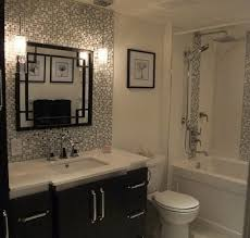 tile backsplash with decorative mirror