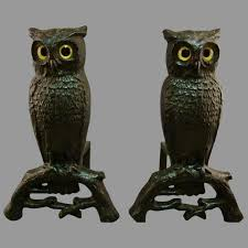 c 1920 rostand andirons owl authentic