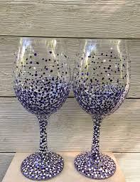 hand painted confetti wine glass set