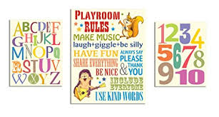 Amazon Com The Kids Room By Stupell Playroom Rules Alphabet Numbers 3 Pcs Multi Size Wall Plaque Set Baby