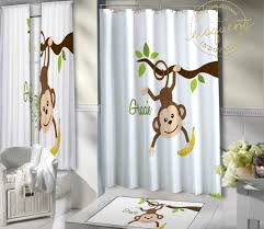 Kids Jungle Themed Shower Curtain Monkey Decorations Baby Monkey Monkey Gift 405 Eloquent Innovations