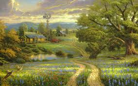 wallpaper painting art landscape
