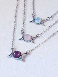 triple moon crystal gemstone necklace