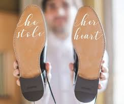 Wedding Sticker Wedding Decal Bride Decal Custom Decal Wedding Shoes Wedding Shoes Wedding Gift He Stole Her Heart Groom Shoes Wedding Shoes Wedding Decal