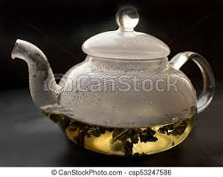 transpa glass teapot cup with tea