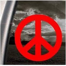 Amazon Com Decalgeek Peace Sign Red Decal Symbol Car Truck Window Automotive