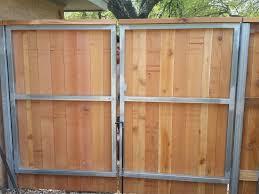 Custom Wood Metal Frame Double Gate Wood Fence Gates Driveway Gate Diy Wood Fence