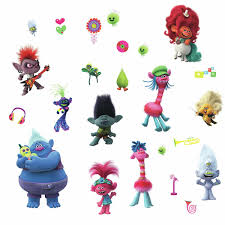 Kids Room Fun Stickers Trolls Movie Peel And Stick Wall Decals With
