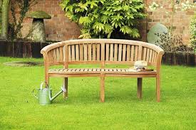banana halfmoon teak garden bench 1 5m