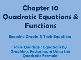 ppt chapter 10 quadratic equations