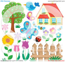 Cartoon Of A House Insects Birds Flowers Fence And Tree Royalty Free Vector Clipart By Visekart 1170043