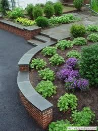 curved brick retaining wall with front