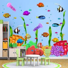 Vwaq Coral Reef Kids Wall Decals Under The Sea Peel And Stick Ocean