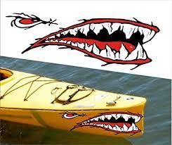 Amazon Com Mean Straight Front Shark Teet Mouth Decal Stickers Kayak Canoe Jet Ski Hobie Dagger Ocean Boat Sports Outdoors