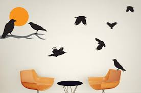 Crows With Moon And Wall Decal Sticker Set Wall Decal Wallmonkeys Com