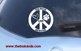Peace Love Rescue Circular Vinyl Sticker Car Decal Rescue Sticker B Blakdogs Vinyl Designs
