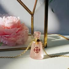 Myra Rose Quartz Perfume Bottle Necklace - ZENGORI