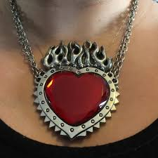 giant flaming heart necklace