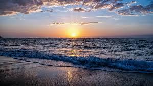 sea horizon sky ocean sunset