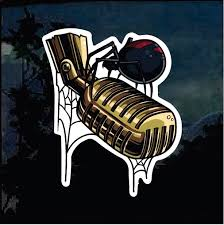 Black Widow Spider And Microphone Decal Sticker Custom Sticker Shop