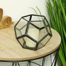 geometric glass tealight candle holder