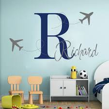 Custom Airplane Plane Name Wall Sticker Boy Room Kids Room Personalized Name Travel Fly Airplane Wall Decal Bedroom Vinyl Wall Stickers Aliexpress