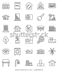 Thin Line Vector Icon Set House Stock Vector Royalty Free 1168456519