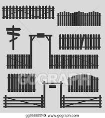 Vector Art Set Of Wooden Fences With Gates Clipart Drawing Gg95882240 Gograph