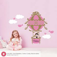 Hot Air Balloon Girl Wall Decal Personalized Name Baby Nursery Kids Graphic Spaces