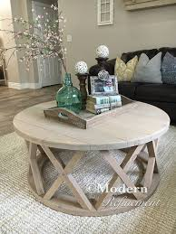 rustic round farmhouse coffee table