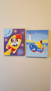 Original Canvas Painting For Kids Room Acrylic Hand Painted Etsy