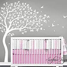 Nursery Wall Decals White Birch Trees With Owls Birds Wall Mural Stickers Nursery Tree Wall Decal From Surface Inspired 1077 Nursery Nursery Decor