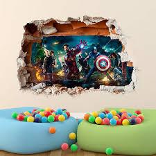 Marvel Avengers Wall Sticker 3d Boys Girls Bedroom Vinyl Wall Art Decal Ebay