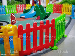 Closeup Colorful Plastic Fence Around Kids Playground With Selective Focus Stock Photo Download Image Now Istock