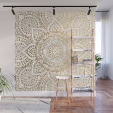 Gold Mandala Pattern Illustration With White Shimmer Wall Mural By Victorys Society6