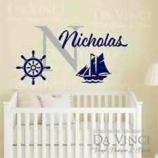 Custom Name Wall Decal Sticker Monogram Vinyl Ship Nautical Baby Room Nursery Ebay
