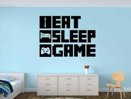 Eat Sleep Game Gamer Wall Decal Gamer Room Wall Vinyl Decal Sticker Word Factory Design