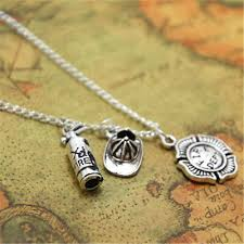 necklace firefighter charm pendant