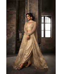 creamish golden wedding dress with